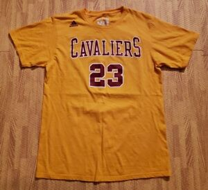 premium selection 6a73a 1769d Details about Cleveland Cavaliers #23 LeBron James Adidas Yellow Shirt ~  Medium Slim / Small