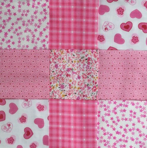 """50 x 4/"""" Pink Fabric Patchwork Squares Quilting Sewing Craft Girls Baby"""