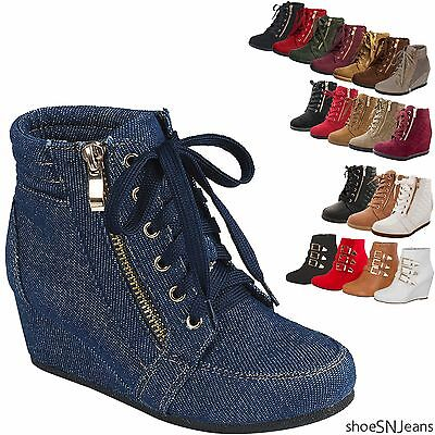 Women High Top Wedge Heel Sneakers Platform Lace Up Tennis Shoes Ankle Bootie