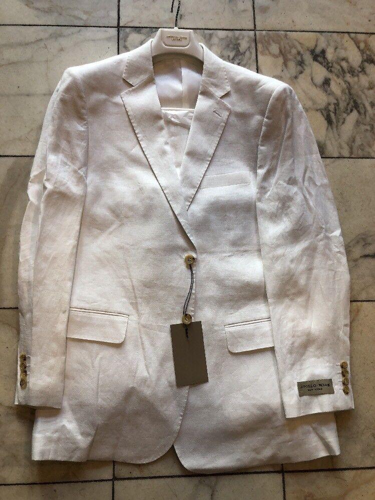 NWT APOLLO KING Classic Fit Men's 100% Linen Suit Lined White color 2BT Size 62L