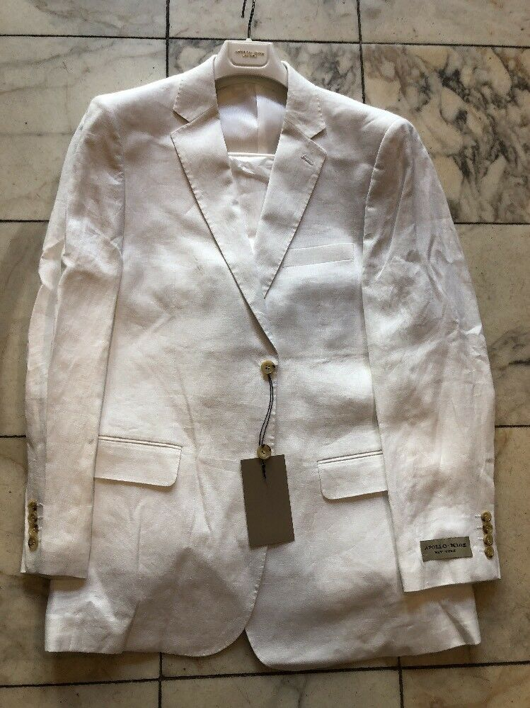 NWT APOLLO KING Classic Fit Men's 100% Linen Suit Lined White color 2BT Size 46R