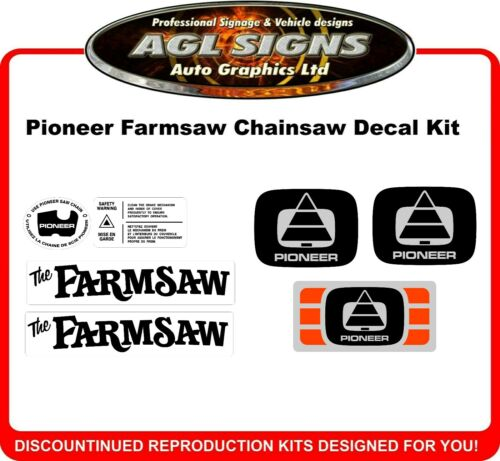 Pioneer Farmsaw Chainsaw Reproduction Decal Kit