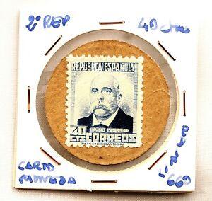 Spain-Guerra-civil-Sello-moneda-Republica-Emilio-Castelar-40-Centimos-EBC-XF