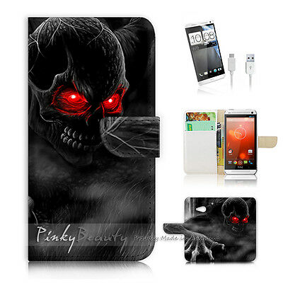 HTC ONE M7 Print Flip Wallet Case Cover! Horror Skull P0523