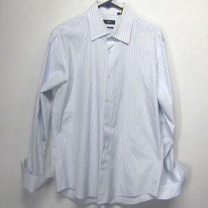 BOSS-HUGO-BOSS-MEN-039-S-Sz-16-5-32-33-BLUE-WHITE-STRIPED-FRENCH-CUFF-DRESS-SHIRT