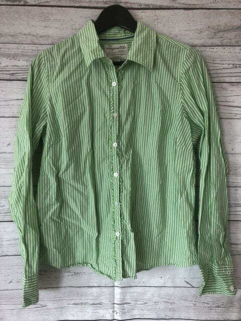 3a7d616a Aeropostale Green White Stripe Blouse Shirt Button Front Long Sleeve Size XL