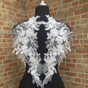 2St-Stickerei-Spitze-Blumen-Patches-Applikation-DIY-Hochzeitskleid-Kleidung-Deko