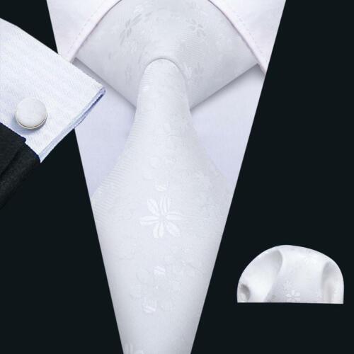 Mens Silk Tie New Woven White Floral Necktie Set Pocket Sqaure Cufflinks Party