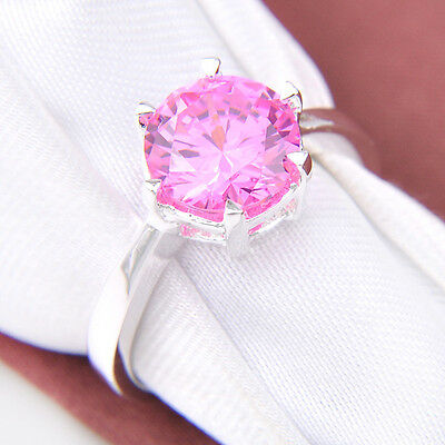 Christmas Lady Natural Shiny Sweet Pink Topaz gemstone Silver Ring Size 7 9 New
