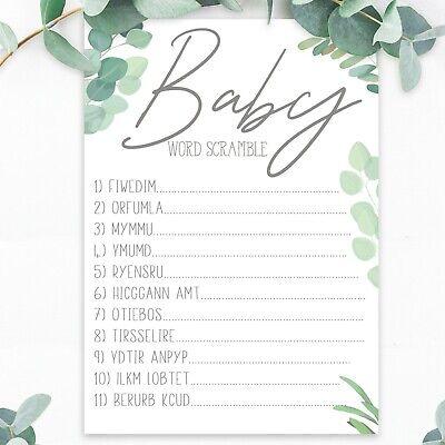 Boobs or Butt Quiz Baby Boy Girl Unisex Botanical Boho x20 Baby Shower Games