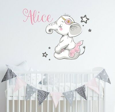 Elephant Wall Decal Nursery Ballerina Name Vinyl Sticker Baby S Decor Sd64 Ebay