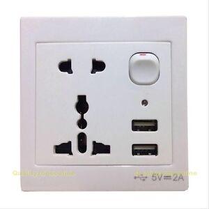 NEW 2Port 2A USB Outlet Adapter Charger 110V-250V Wall Socket Plug ...