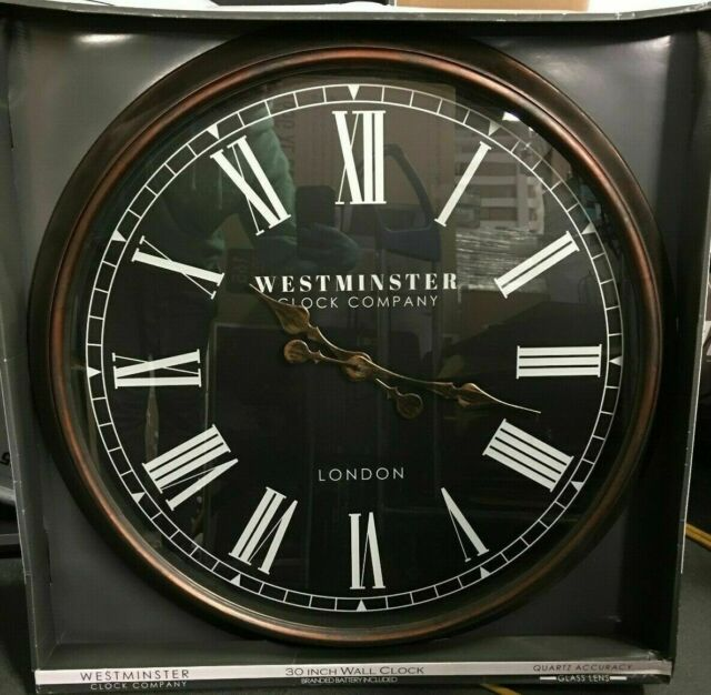 Westminster Clock Company Oversized 30 Wall Clock Black Brown Free Shipping For Sale Online