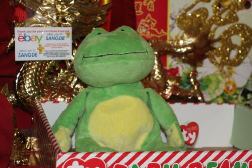 """TY PLUFFIES PONDS THE GREEN FROG-8/""""-2010-RETIRED-MWNMT-NICE GIFT"""