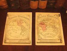 Fine Original 1855 Antique WORLD GLOBE HEMISPHERES Hand-Colored Engraved Maps