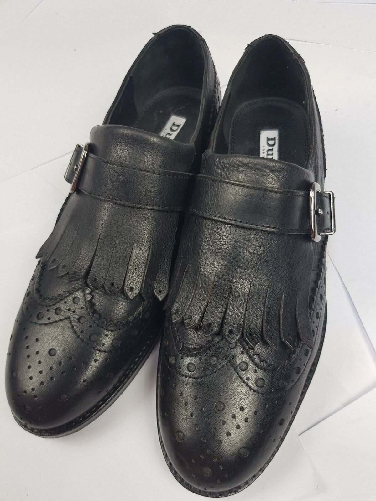 DUNE Womans Black Leather Strap Cond Buckle Shoes Brogues Excellent Cond Strap a9b785