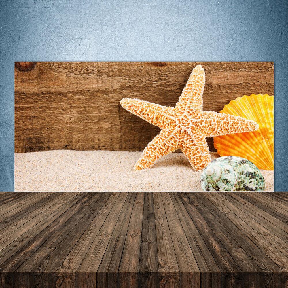 Crédence de cuisine en verre Panneau 140x70 Art Coquilles Étoiles De Mer Sable