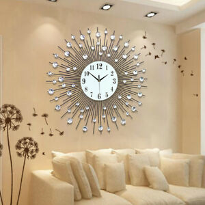 Details About Modern Large Luxury Art Round Diamond Wall Clock Home Living Room Decor 60x60cm