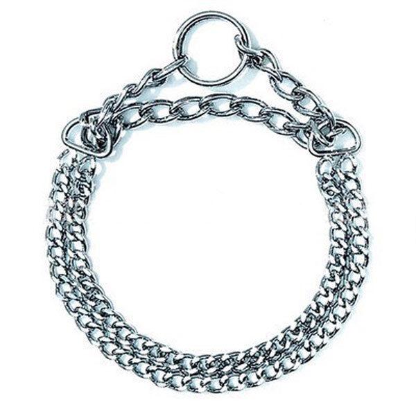 Double Chrome Pet Dog Collar Plated Choke Metal Chain for Walking Training