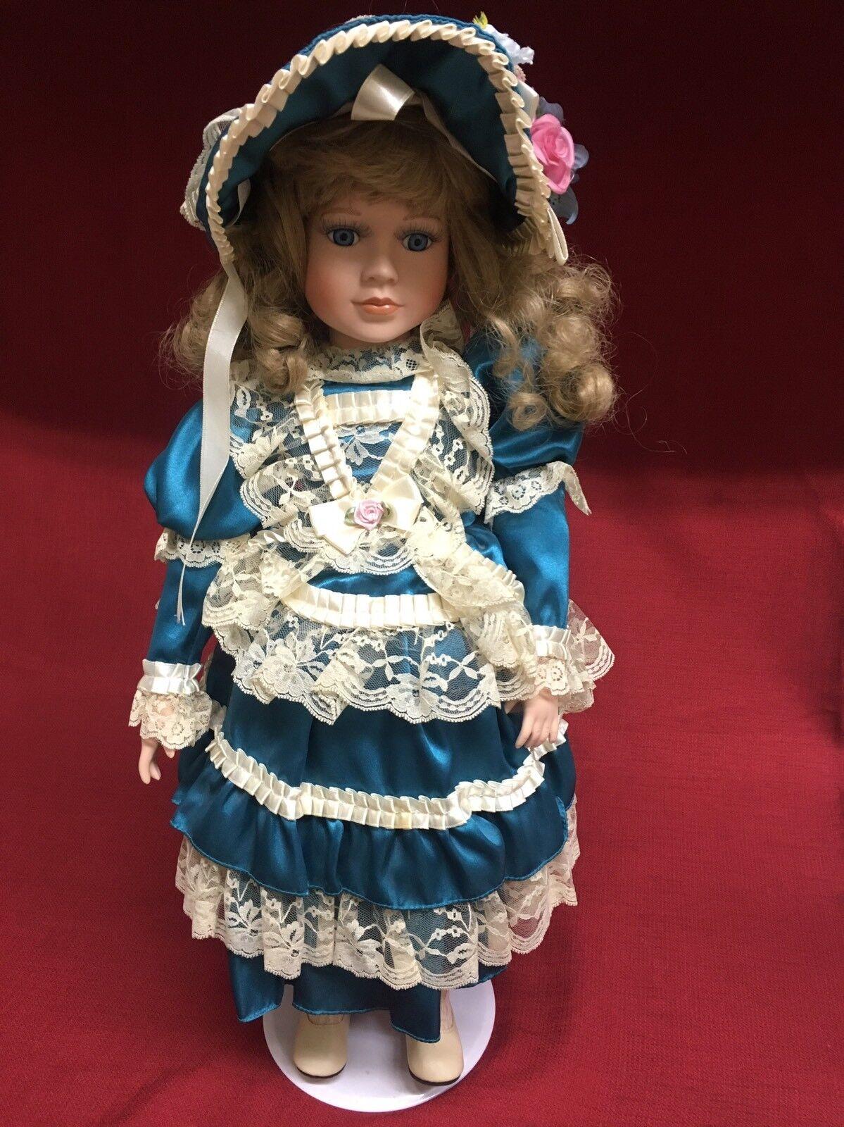 Corte DI BAMBOLE 1062500 22 Bambola di Porcellana Blu ScuroTeal Abito in pizzo Accents