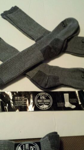 6 Pair Cabela/'s Men/'s Medium-Weight Wool Boot Socks SIZE 9-11 GRAY WOOL .NEW