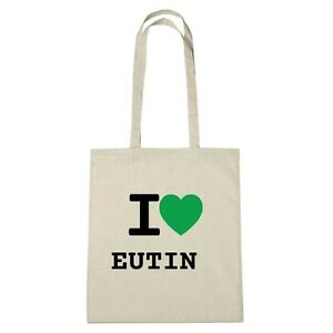 Umwelttasche - I love EUTIN - Jutebeutel Ökotasche - Farbe: natur