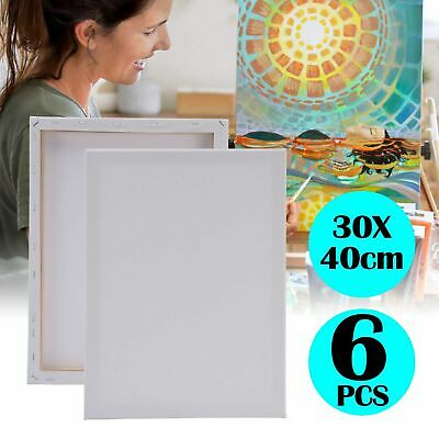 6 Pack 30 X 40 Cm Blank Artist Canvas Art Board Plain Painting Stretched Framed Ebay