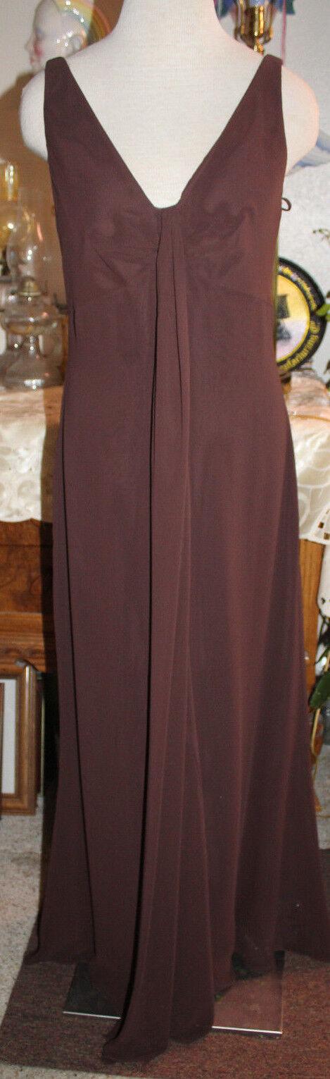 Amsale brown chiffon bridesmaids evening formal long dress 10