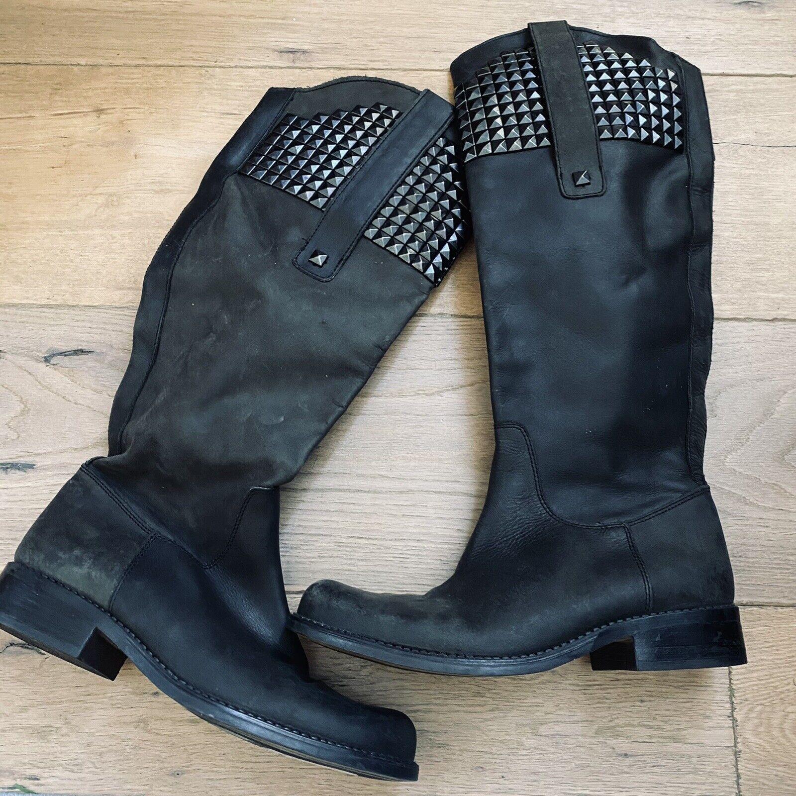STEVE MADDEN reggime black leather stud tall Over Knee boot Womens 8