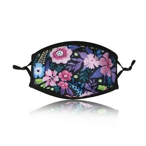 Ladies-Purple-Flowers-Cotton-Face-Mask-Washable-Reusable-Adjustable-Double-Layer