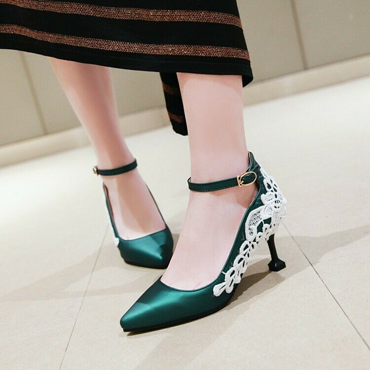 Women Fashion Stilettos Heel Ankle Strap Lace Floral Pointy Toe shoes Party Pump