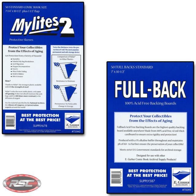 50 - GERBER FULL-BACK & MYLITES 2 STANDARD Comic Mylar Bags & Boards 700FB/725 b
