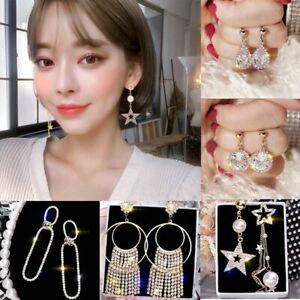 Fashion-Crystal-Round-Tassel-Earrings-Drop-Dangle-Womens-Wedding-Jewelry-Gift