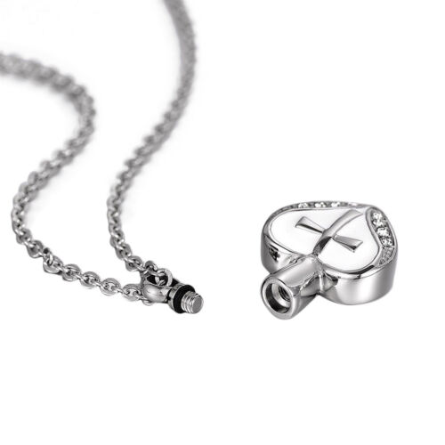 Cross On White Heart Cremation Jewelry Keepsake Pendant Memorial Urn Necklace US
