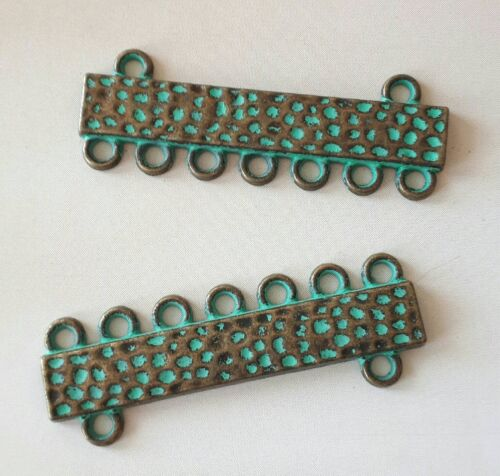 7 loops Patina brass multi loop end bar,multi strand jewelry findings 4pcs-1.5/""
