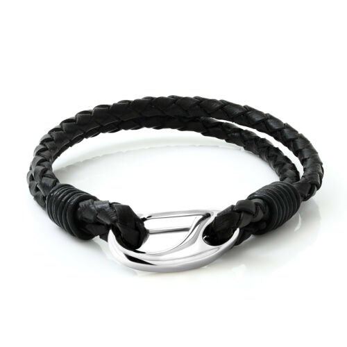 """8/"""" Double Wrap Leather Black Cord Men/'s Bracelet with Stainless Steel Clasp"""