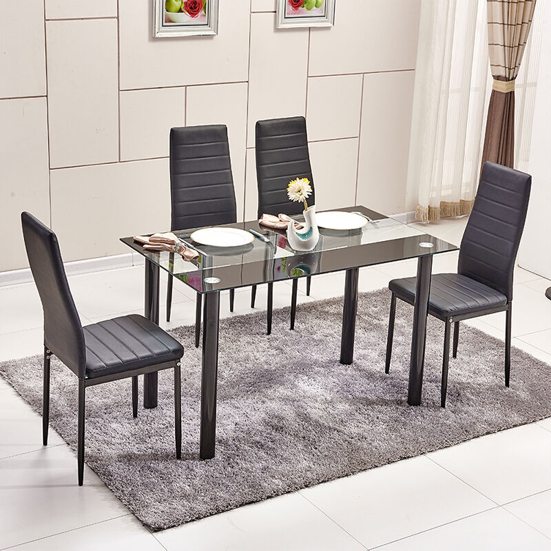 Modern High Back PU Faux Leather Dining Chairs Glass Dining Table Set Diningr