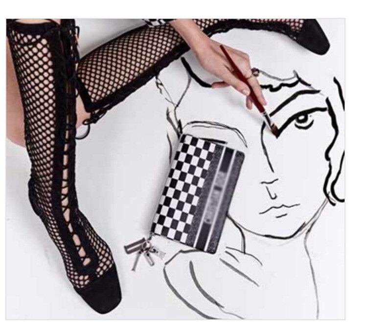 Femme Summer Hollow Out Cheville Bottes Hautes Hautes Hautes Talon Massif Cuir Maille Chaussures 5e9494
