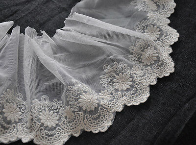 """Lace Trim Off White Sunflower Cotton Embroidery Wedding 4.7"""" width 2 yards"""