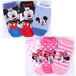 Disney Mickey Mouse Minnie Mouse Socks 3 Pairs Set Low Ankle Girls