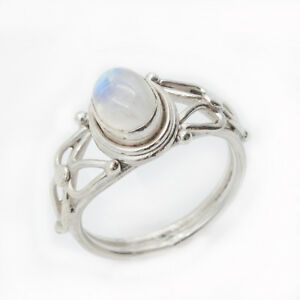 Mondstein-Ring-Silber-925-Weiss-Blau-schimmernd-Rainbow-Echt-Sterlingsilber-ts