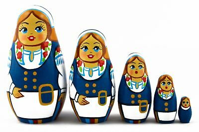 Belarussian Folk Costume Matryoshka Russian Nesting Dolls Babuska Babushka 5 Pcs