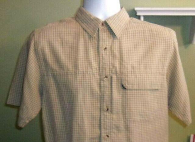 The North Face Shirt Mens Short Sleeve Button Front Beige Plaid Sz S