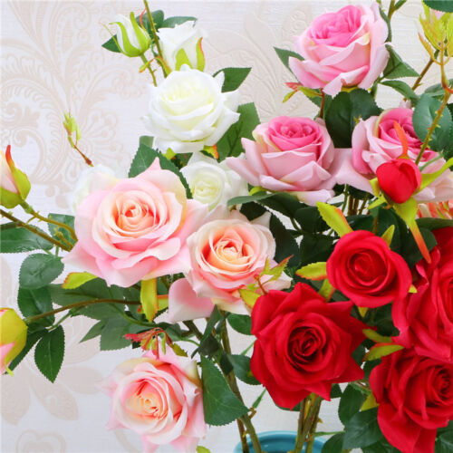 1x 6 Kopf Rosenköpfe Grünpflanze Blatt Künstliche Blume Hochzeit Garten Dekor FL