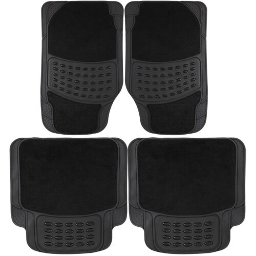 4 Piece Universal Black Heavy Duty Luxury Anti Slip Carpet Rubber Car Mat Set
