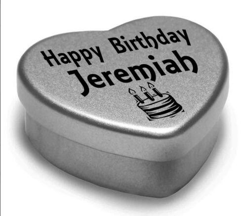 Happy Birthday Jeremiah Mini Heart Tin Gift Present For Jeremiah WIth Chocolates