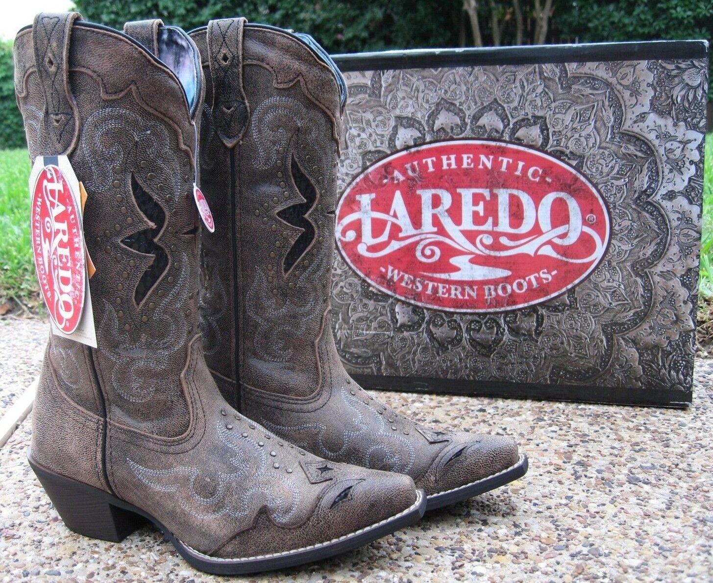 NEW Ladies Ladies NEW Laredo Lucretia Black Tan Studded Leather Western Cowboy Boots 52133 5ae2ee