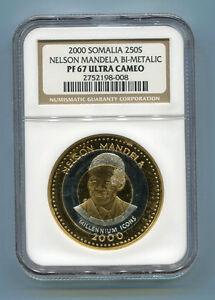 NGC-Proof-PF-67-Cameo-Somalia-Bimetalic-2000-Nelson-Mandela-250s-Rare-Coin