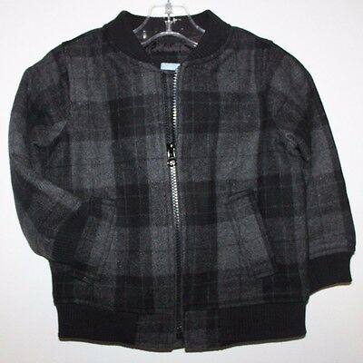 baby Gap NWT Boy Plaid Wool Blend Bomber Moto Jacket Coat