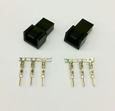 PK OF 2 - MALE 3 PIN FAN POWER CONNECTOR - BLACK INC PINS